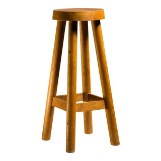 Charlotte Perriand Rare High Pine Bar Stool from Hotel Le Doron, France, 1948