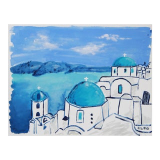 Blue Abstract Portofino Greece Landscape Painting