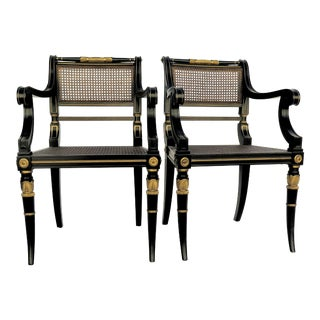 Baker Mahogany Caned Chairs - a Pair