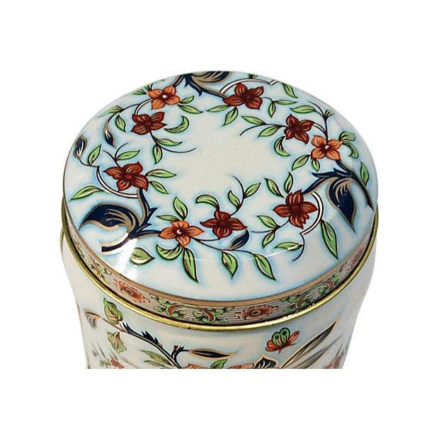English Floral Tin Lidded Box - Image 2 of 6