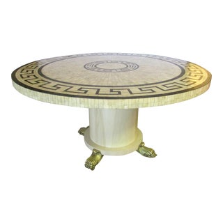 Round Bone Inlay Table With Greek Key Design