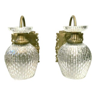 Mid-Century Bubbled Glass Wall Sconces - A Pair
