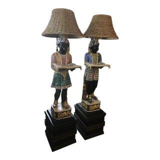 Vintage Blackamoor Floor Lamps - A Pair