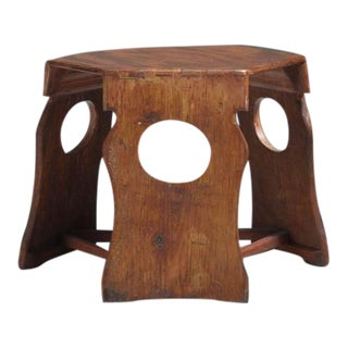 Unique Studio Crafted Hexagonal Pine Stool or Side Table, USA, 1950s