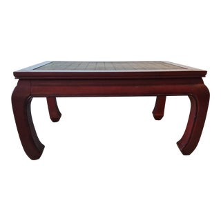 Baker Red Lacquered Rattan Top Table