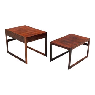 Mid Century Rosewood Nesting Tables - a Pair