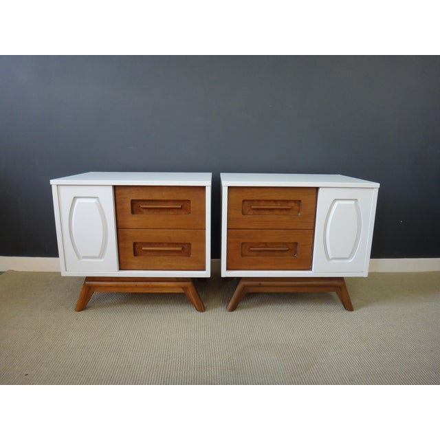 Image of Updated Mid Century Bedside Tables - A Pair