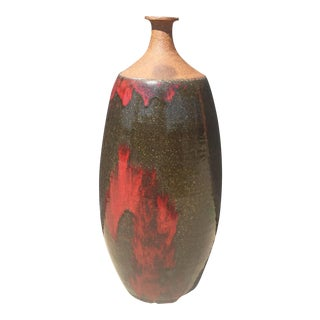 Mid-Century Modern Narrow Neck Studio Pottery Vase