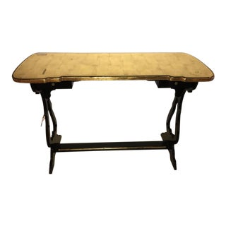 French Ebonized Console Table or Desk With Gilt Glass Top Jansen Style