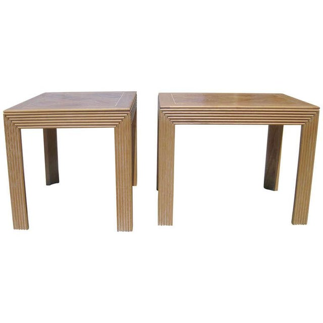 Image of Parquet Top Sides Tables by Lane - Pair