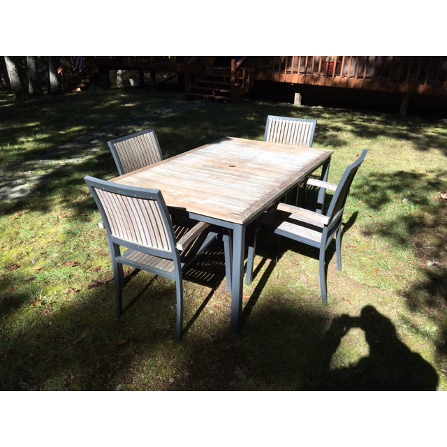 Danish Outdoor Teak Dining Set - S/5 - Image 4 of 9