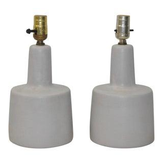 Pair of White Mid Century Lamps by Gordon Martz c.1950s