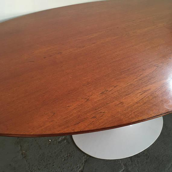 Vintage Knoll Tulip Dining Table with Teak Top - Image 3 of 7
