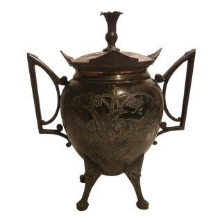Antique Victorian Silver Urn Waste Bucket