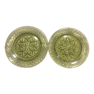 Vintage Mid-Century Green Glass Coasters - A Pair
