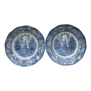 Staffordshire Liberty Blue Transfer Ware Dinner Plates - A Pair
