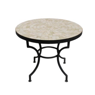 Traditional Round Mosaic Tile Side Table