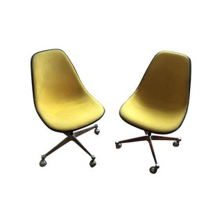 Herman Miller Yellow Hopsack Eames Chairs - A Pair