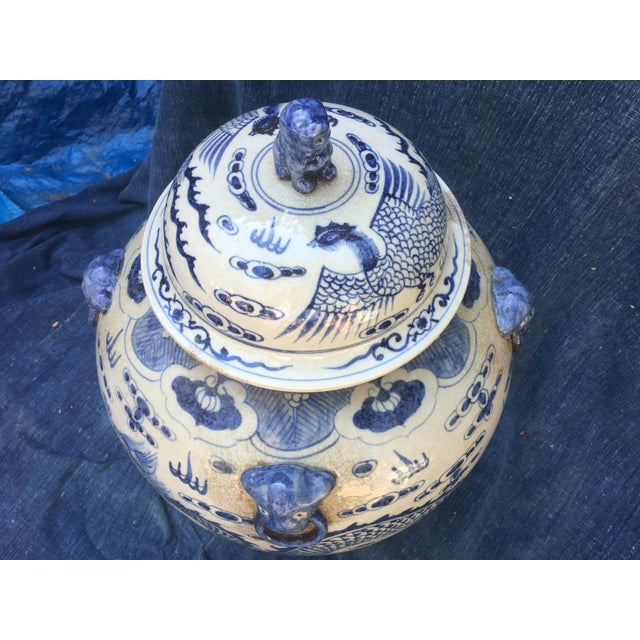 Image of Chinese Dragon Urn W/ Foo Dog Handle Lid