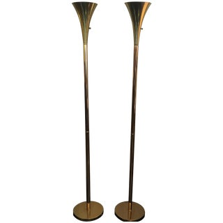 Laurel Brass Floor Torchiere - Pair