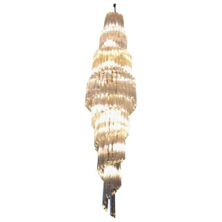 Camer Mid-Century Italian Murano Spiral Glass Chandelier