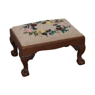 Antique Chippendale Style Mahogany Ball & Claw Foot Needlepoint Footstool