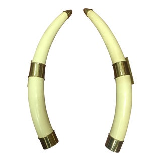 Hollywood Regency Faux Tusk Door Handles - a Pair