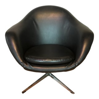 Mid-Century Modern Space Age Black Overman Pod Chair