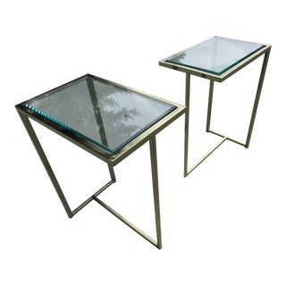 Glass and Brass Colored Side or End Tables - A Pair