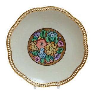 Floral Porcelain Plate W/ Gold Lattice