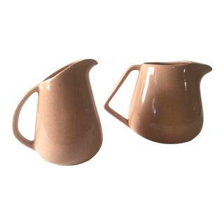 Mid-Century Modern Bauer Speckle Ware Ceramic Pitchers - A Pair