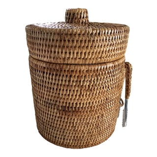 Natural Wicker Ice Bucket With Tongs - A Pair
