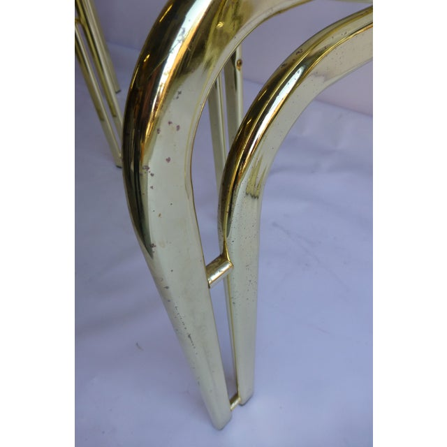 Image of Milo Baughman Brass and Glass End Table - A Pair