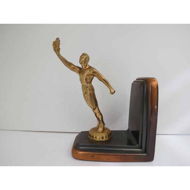 Image of Antique Art Deco Bronzed Metal Figure Bookend