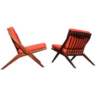 Folke Ohlsson for Dux Teak Scissor Chairs - A Pair