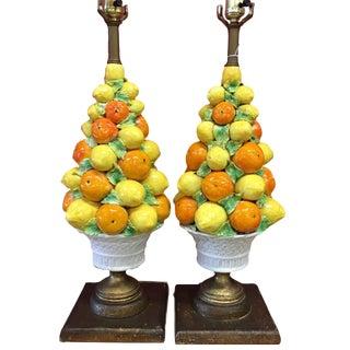 Italian Mid-Century Majolica Stacked Fruit Lamps - A Pair