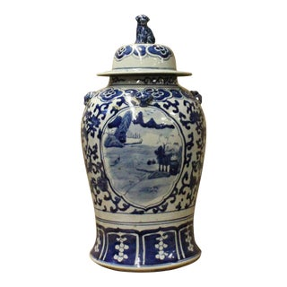 Chinese Blue & White Scenery Theme Porcelain Large General Jar