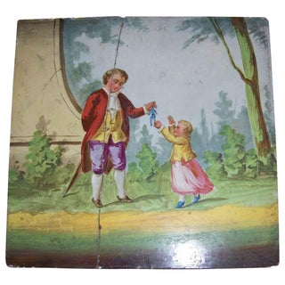 Vintage Man Giving Toy to Child Hand Painted Tile