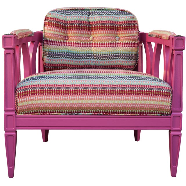 Playful Pink Upholstered Armchair - Image 1 of 2
