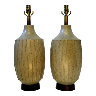 Superb Pair of David Cressey Mid Century Modern Pottery Table Lamps