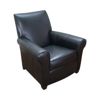 Ethan Allen Black Leather Living Room Lounge Chair