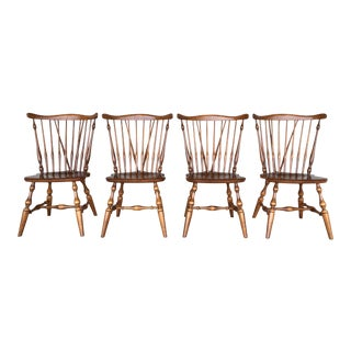 Ethan Allen Windsor Brace Back Nutmeg Side Chairs - Set of 4