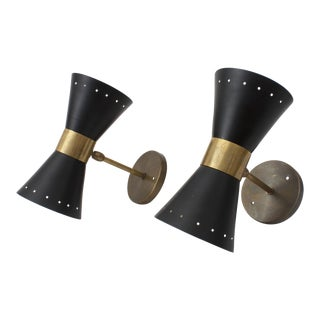 Vintage Black Italian Wall Sconces - A Pair