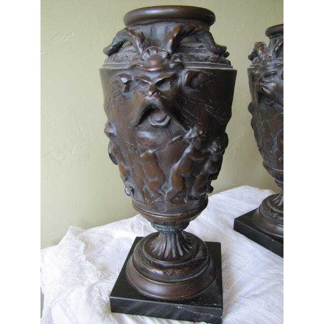 Vintage Bronze Urns - A Pair - Image 3 of 10