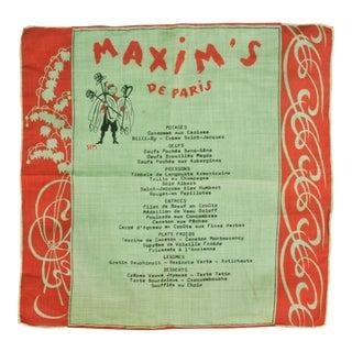 Maxim's De Paris Linen Sem Menu Napkin