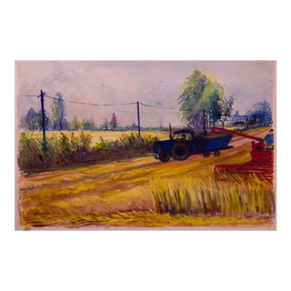 Vintage WPA-Style Farm and Tractor Oil Painting