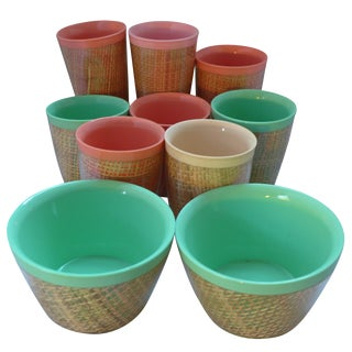 Vintage Insulated Rattan Acrylic Cups - Set of 10