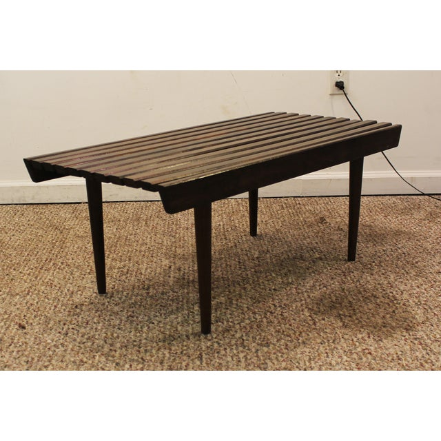 Mid Century Danish Modern Walnut Slat Bench/Coffee Table