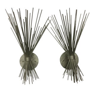 Pair of Silver Spike Bundle Sconces