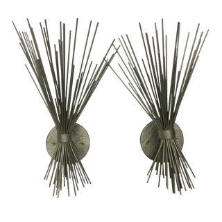 Pair of Silver Spike Bundle Sconces